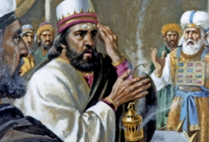 """Pride led King Uzziah to Offer Incense at the Temple"" by V. Gilbert and Arlisle F. Beers, from www.visualbiblealive.com"