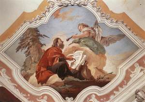 "The Seraph cleanses Isaiah's lips with a coal.  ""The Prophet Isaiah"" by Giovanni Battista Tiepolo, 1696-1700, Palazzo Patriarcale, Udine, Italy"
