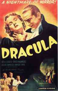 "Billboard poster for 1931 motion picture ""Dracula"", re-released 1947.  Courtesy of Universal Pictures."