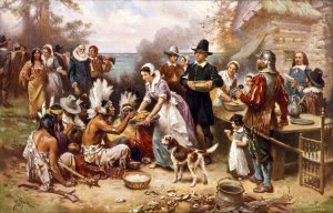 """The First Thanksgiving"" by Jean Louis Gerome Ferris (1915) Courtesy of http://www.joyfulheart.com/thanksgiving/pilgrim_artwork.htm"