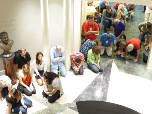 Praying in the rotunda